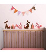 Trendy Peas Wall Decals Foxes Espresso & Strawberry