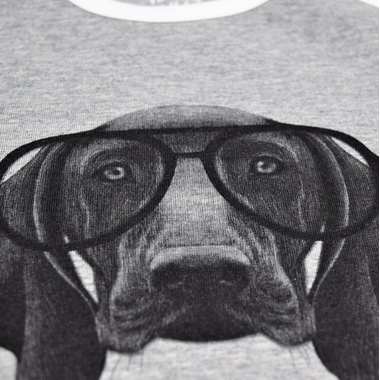 L&P Apparel Baseball Style Shirt Grey & White Dog