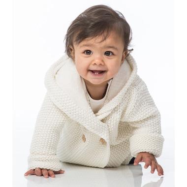 Beba Bean Crochet Knit Hoodie Ivory