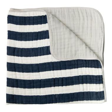 Little Unicorn Cotton Muslin Quilt Navy Stripe