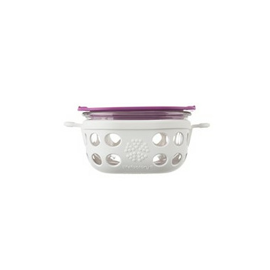 Lifefactory 1 Cup Glass Food Storage in Huckleberry & White