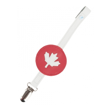 Mally Designs Maple Leaf Leather Soother Clip