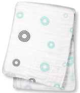 Lulujo Baby Muslin Cotton Swaddling Blanket Blue Circles