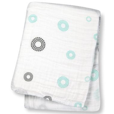 Lulujo Baby Muslin Cotton Swaddling Blanket Blue Circles