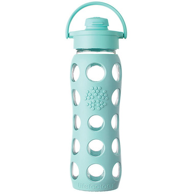 Lifefactory Glass Bottle Turquoise Flip Cap & Silicone Sleeve