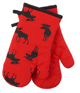 Hatley Oven Mitt Set Moose on Red