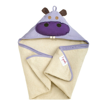 3 Sprouts Cotton Hooded Towel Purple Hippo