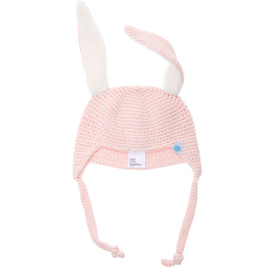 Beba Bean Pink Crochet Bunny Toque