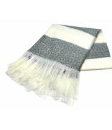 Harman Bold Stripe Faux Mohair Throw Grey