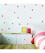 Trendy Peas Wall Decals Colourful Raindrops Aqua & Poppy