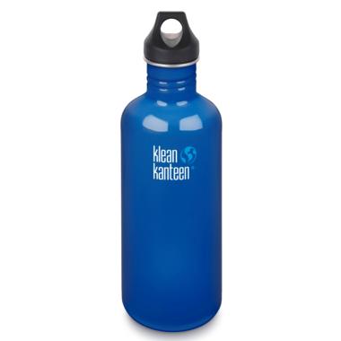Klean Kanteen Classic Leakproof Loop Cap Water Bottle Blue Planet