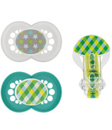 Mam Silicone Trends Pacifier With Clip Green Print