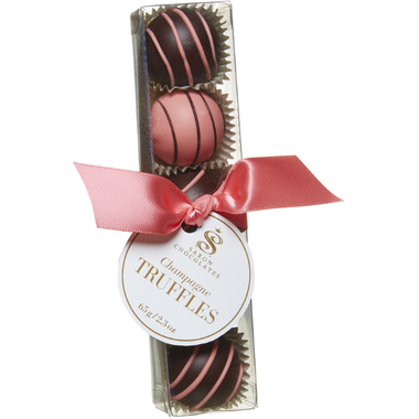Saxon Chocolates Dark and Pink Chocolate Champagne Truffle Box