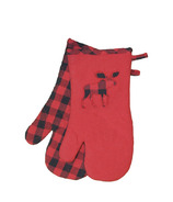 Domay Hotel Buffalo Check Moose Oven Mitt Set