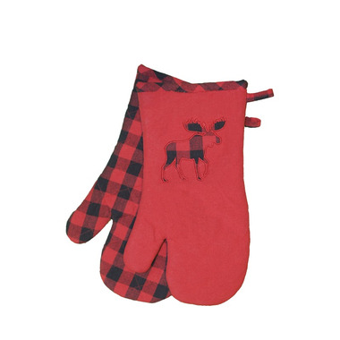 Domay Buffalo Check Moose Oven Mitt Set