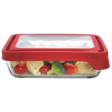 Anchor TrueSeal 6 Cup Rectangular Storage Container with Red Lid