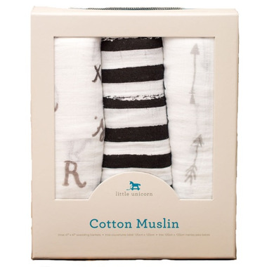 Little Unicorn Cotton Muslin Swaddle Set Black & White