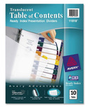 Avery Ready Index Translucent Table Of Contents Dividers