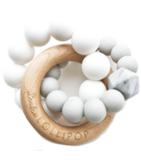 Loulou Lollipop Trinity Wood & Silicone Teether Grey