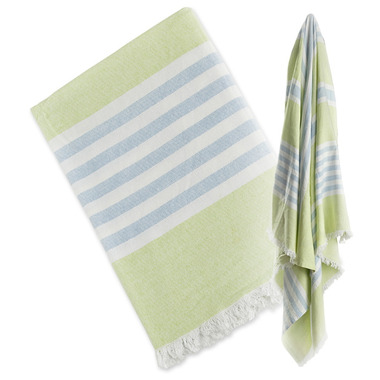Lulujo Turkish Towel Classic Passion Green & Aqua Blue