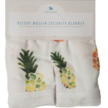 Little Unicorn Deluxe Muslin Security Blanket Pineapple
