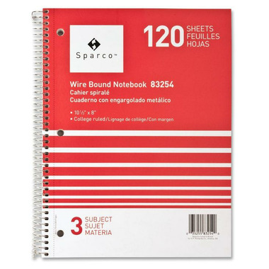 Sparco Quality Wirebound 3-Subject Notebook