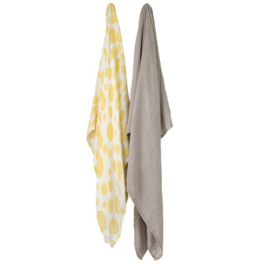 Little Unicorn Bamboo Muslin Swaddle Set Yellow Burst