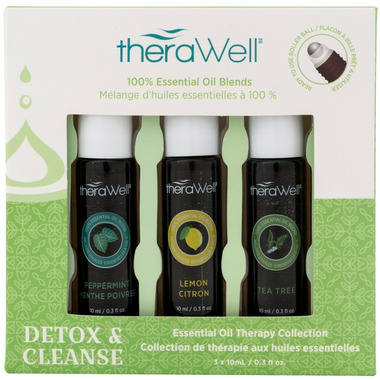 Therawell Essential Oil Blend 3 Pack Detox And Cleanse Roll-On