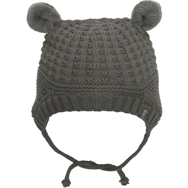 Calikids 100% Cotton Knit Hat with Ears Charcoal Grey