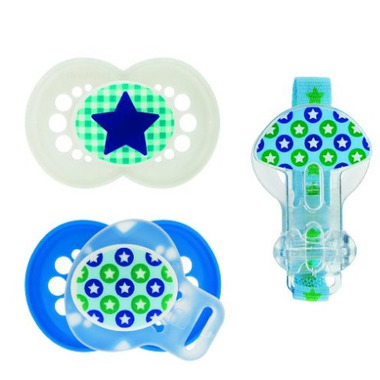Mam Silicone Trends Pacifier With Clip Blue and Green Print