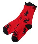 Hatley Women's Crew Socks Moose on Red