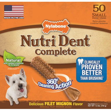 Nutri Dent Complete Dental Chews Filet Mignon Small Size 50 Pack
