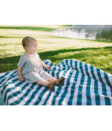 Little Unicorn Outdoor Blanket Navy Gingham