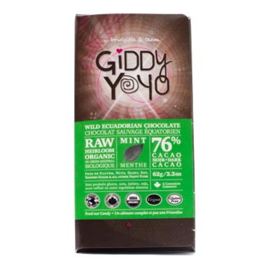 Giddy Yoyo Organic Raw Mint 76% Dark Chocolate Bar