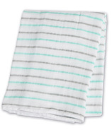 Lulujo Baby Muslin Cotton Swaddling Blanket Aqua Messy Stripe