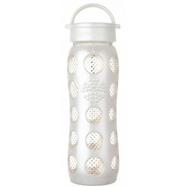 Lifefactory Pearl Dot Glass Bottle with Classic Cap & Silicone Sleeve