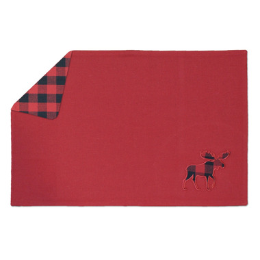 Domay Hotel Buffalo Check Moose Reversible Placemat