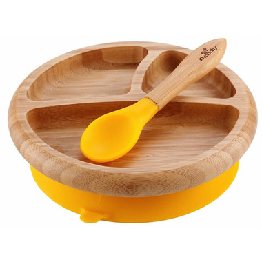 Avanchy Baby Organic Bamboo Stay Put Suction Plate and Spoon Yellow