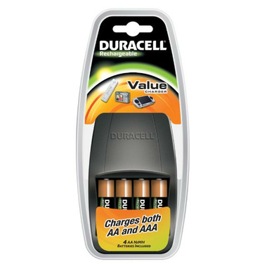 Duracell Rechargeable PreCharged AA Batteries with Value Charger