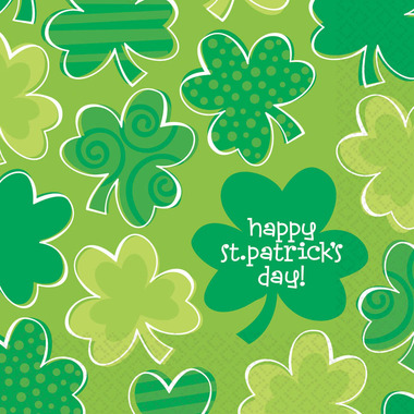 Playful Shamrocks Paper Luncheon Napkins