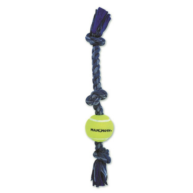 Mammoth Mini 12 Inch Denim Rope 3 Knot Dog Toy with Mini Ball