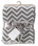Living Textiles Chenille Blanket Grey Chevron